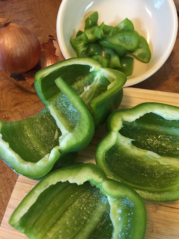 Bev Shaffer - Grandma Louie's Stuffed Peppers - Chopping Peppers