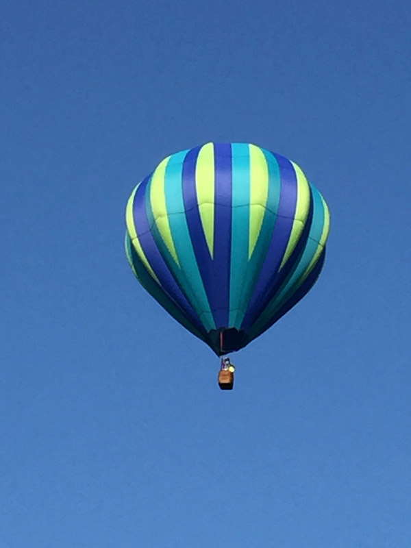 Bev Shaffer - When It's Been A Stressful Week - Green, Yellow and Blue Striped Hot Air Balloon